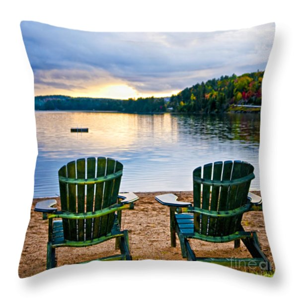 Wooden Chairs At Sunset On Beach Throw Pillow by Elena Elisseeva