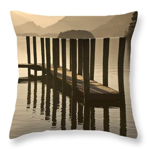 Wooden Dock In The Lake At Sunset Throw Pillow by John Short