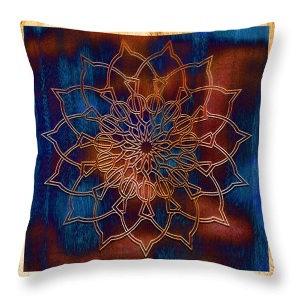 Wooden Mandala Throw Pillow by Hakon Soreide