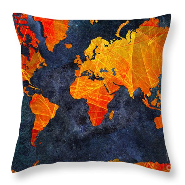 World Map - Elegance Of The Sun - Fractal - Abstract - Digital Art 2 Throw Pillow by Andee Design