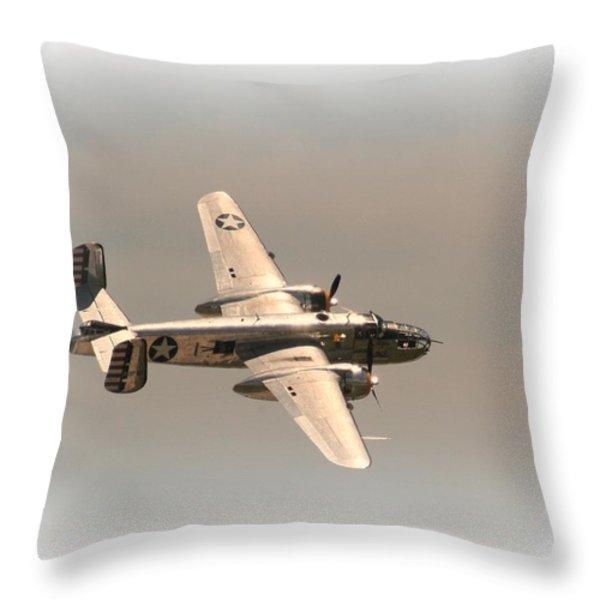 World War II B25 Mitchell Bomber Throw Pillow by David Dunham