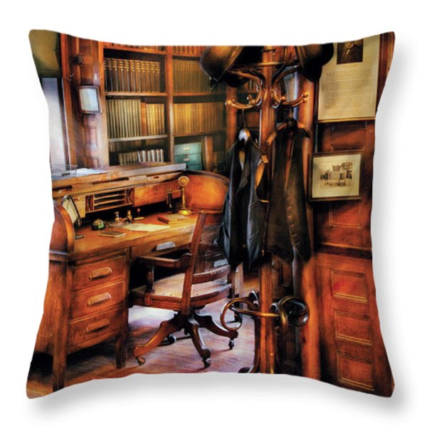 Writer - A Hard Day At Work Throw Pillow by Mike Savad
