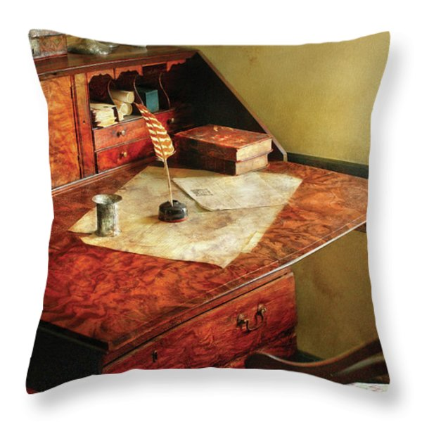 Writer - The Journeys Of An Explorer Throw Pillow by Mike Savad
