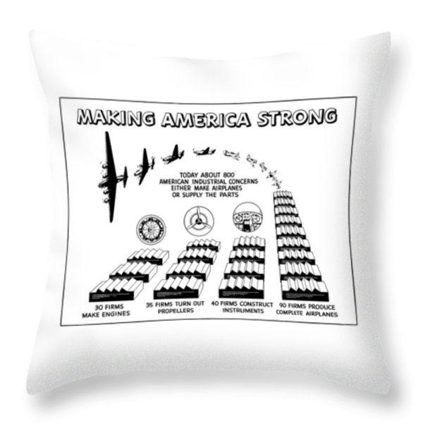 WW2 Airplane Supply Cartoon  Throw Pillow by War Is Hell Store