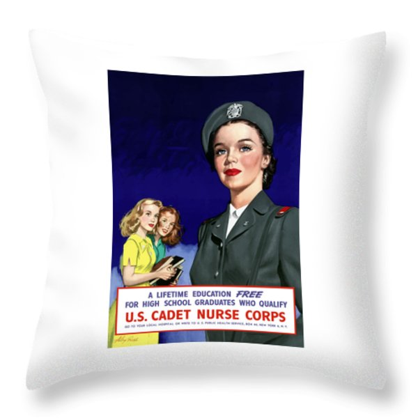 WW2 US Cadet Nurse Corps Throw Pillow by War Is Hell Store