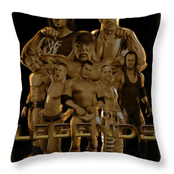 WWE Legends by GBS Throw Pillow by Anibal Diaz