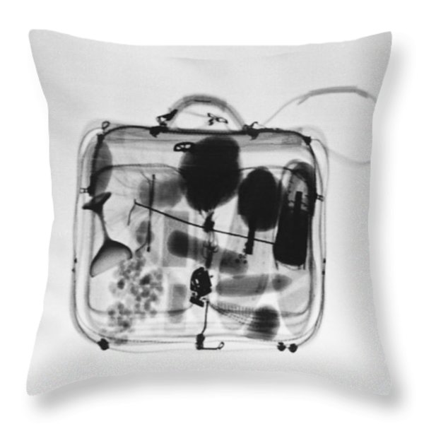 X-ray Of Suitcase Throw Pillow by Science Source