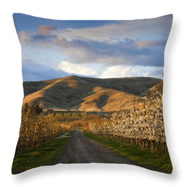 Yakima Valley Spring Throw Pillow by Mike  Dawson