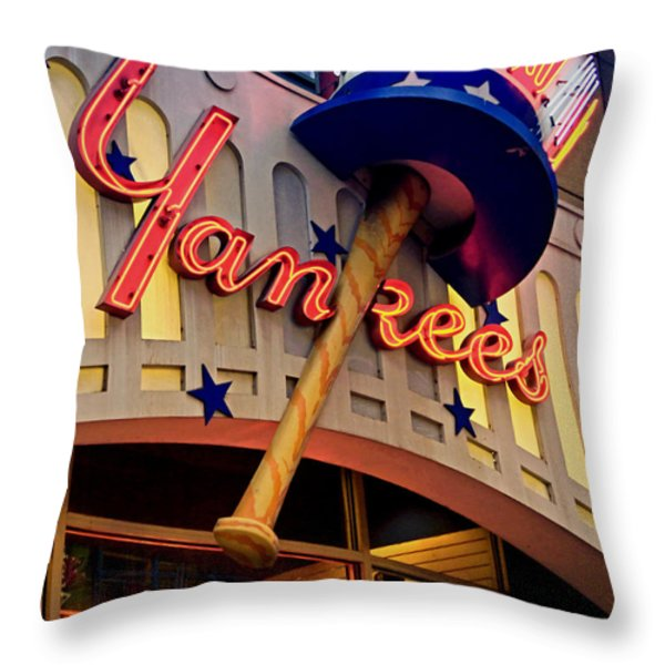 Yankee Clubhouse Throw Pillow by Joann Vitali