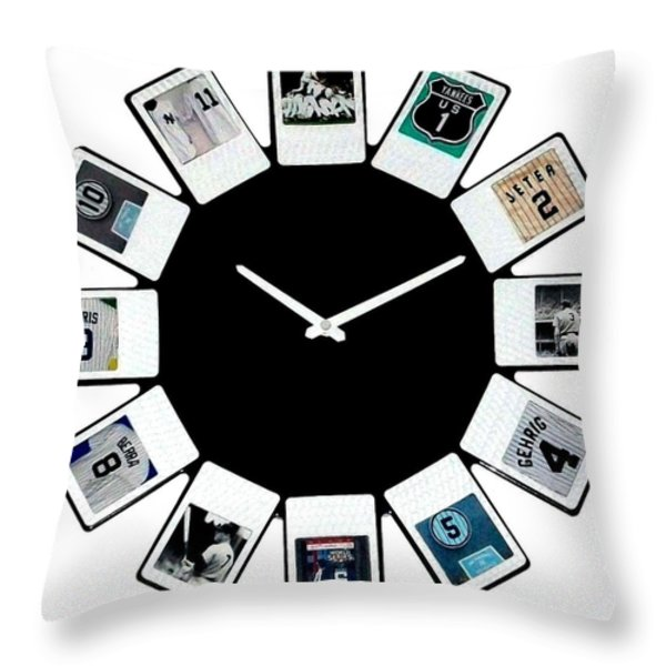yankees Clock Throw Pillow by Paul Van Scott