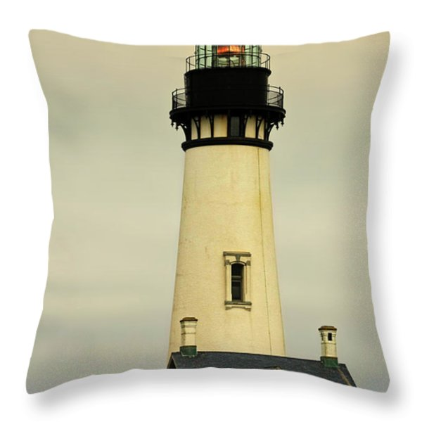 Yaquina Head Lighthouse - Newport OR Throw Pillow by Christine Till