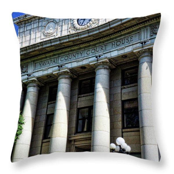 Yavapapi County Court House - Prescott Throw Pillow by Saija  Lehtonen