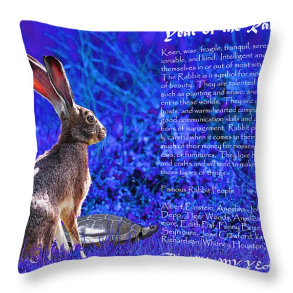 Year of the Rabbit 2011 . blue Throw Pillow by Wingsdomain Art and Photography