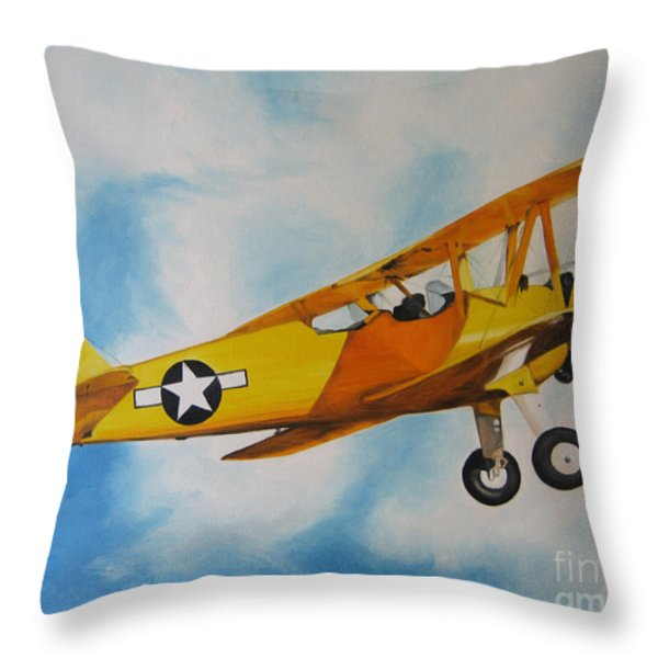 Yellow Airplane - Detail Throw Pillow by Jindra Noewi
