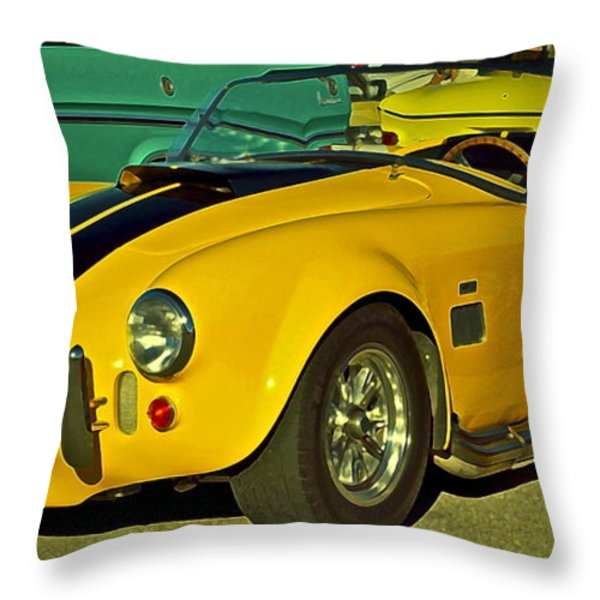 Yellow Cobra Throw Pillow by Gwyn Newcombe