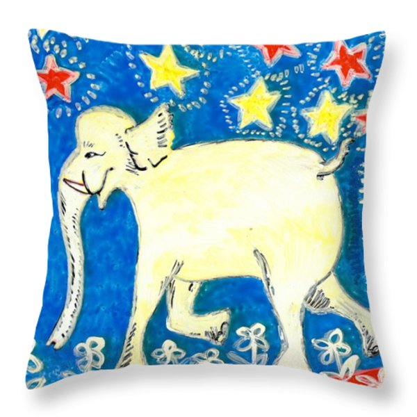 Yellow elephant facing left Throw Pillow by Sushila Burgess