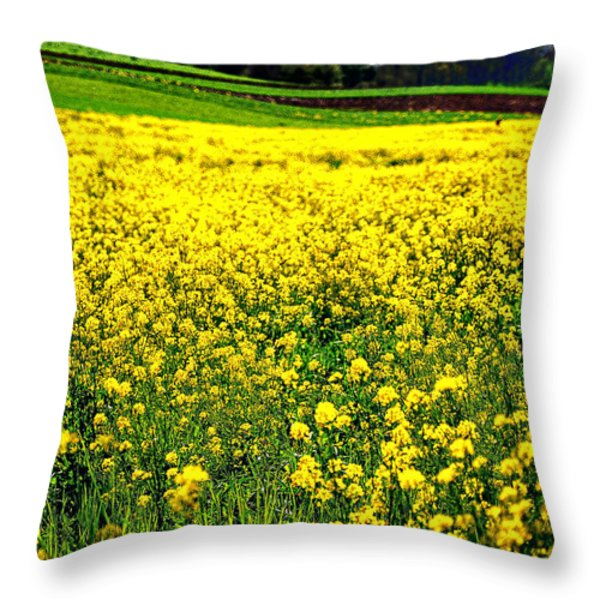 Yellow Field Throw Pillow by Bill Cannon