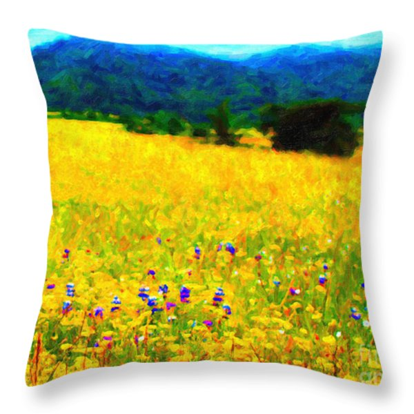 Yellow Hills Throw Pillow by Wingsdomain Art and Photography