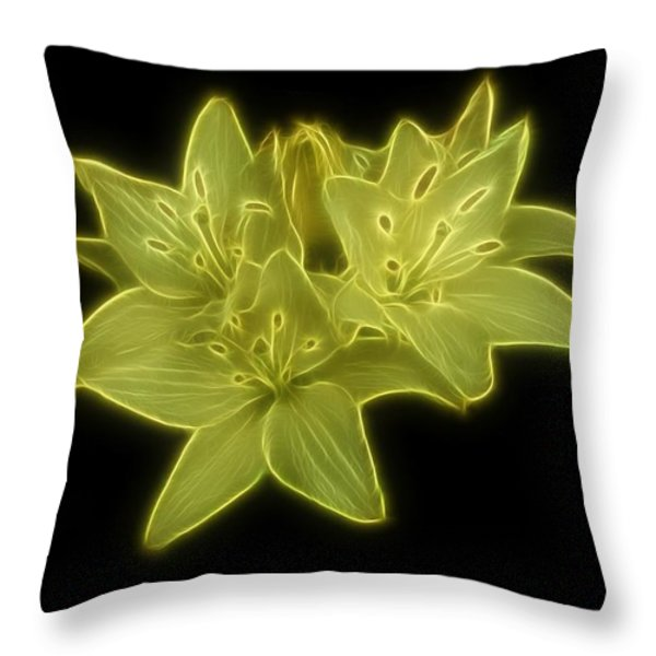 Yellow Lilies On Black Throw Pillow by Sandy Keeton