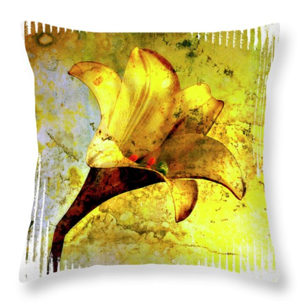 Yellow lily Throw Pillow by BERNARD JAUBERT