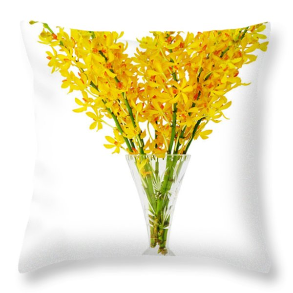Yellow Orchid In Crystal Vase Throw Pillow by Atiketta Sangasaeng