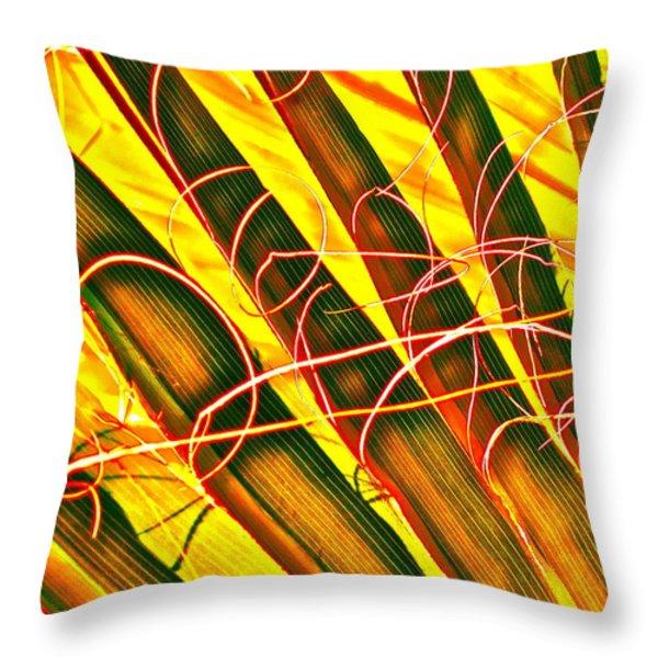 Yellow Palm Fun Throw Pillow by Gwyn Newcombe