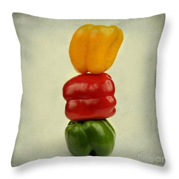 Yellow Red And Green Bell Pepper Throw Pillow by Bernard Jaubert