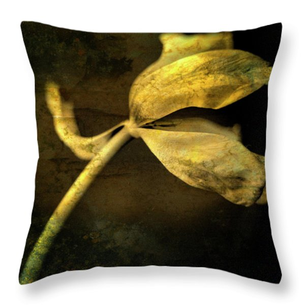 Yellow Tulip Throw Pillow by Bernard Jaubert
