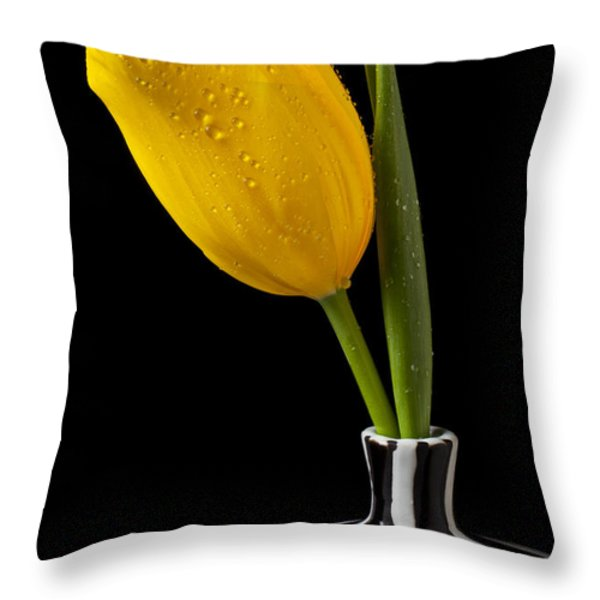 Yellow tulip in striped vase Throw Pillow by Garry Gay