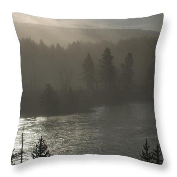 Yellowstone River Fog Throw Pillow by Sandra Bronstein