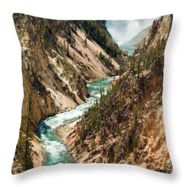 Yellowstone Waterfalls Throw Pillow by Sebastian Musial