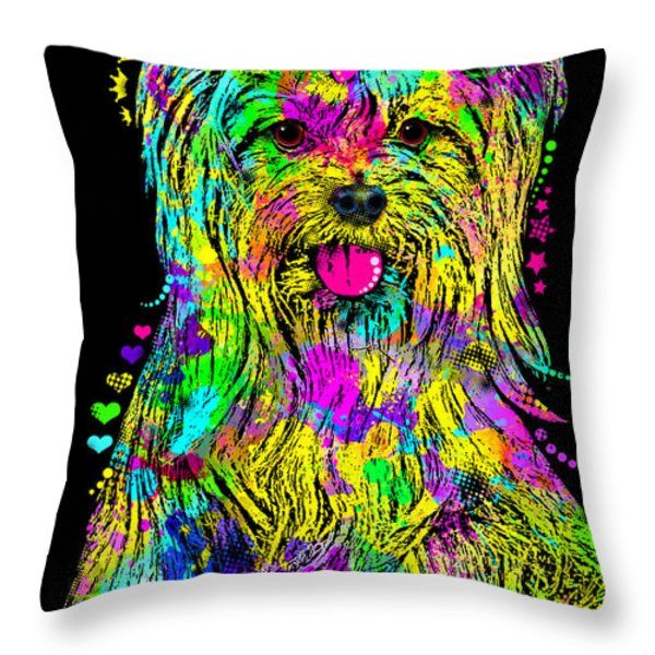 Yorkie Beauty Throw Pillow by Zaira Dzhaubaeva