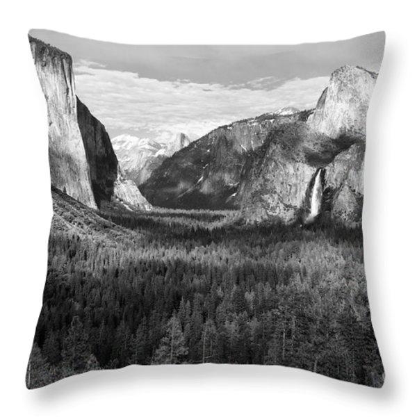 Yosemite Valley Throw Pillow by Sandra Bronstein