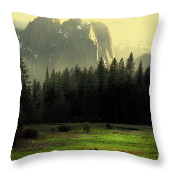 Yosemite Village Golden Throw Pillow by Wingsdomain Art and Photography
