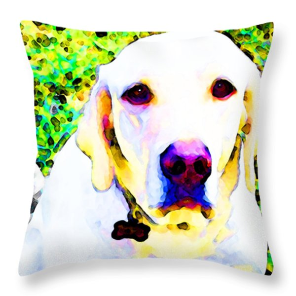 You Are My World - Yellow Lab Art Throw Pillow by Sharon Cummings