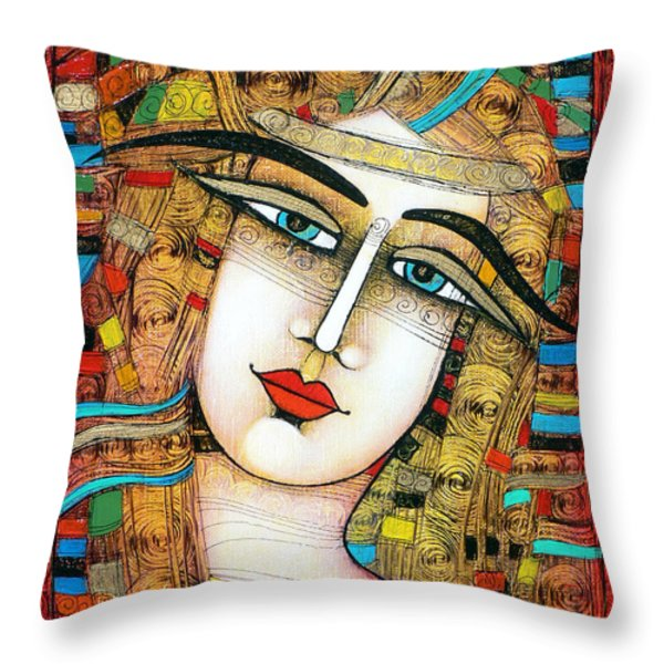 Young Girl Throw Pillow by Albena Vatcheva