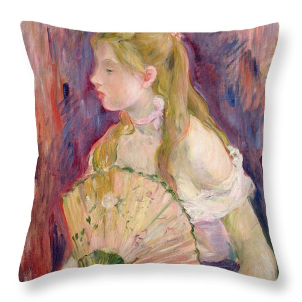 Young Girl With A Fan Throw Pillow by Berthe Morisot