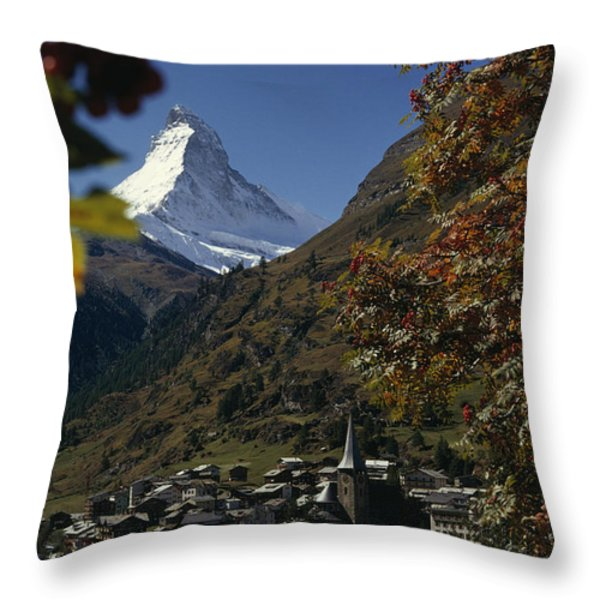 Zermatt Village With The Matterhorn Throw Pillow by Thomas J. Abercrombie