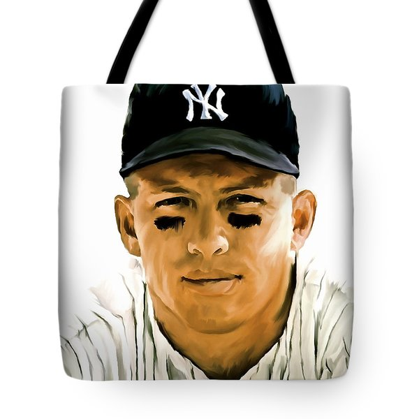 American Icon Mickey Mantle Tote Bag by Iconic Images Art Gallery David Pucciarelli