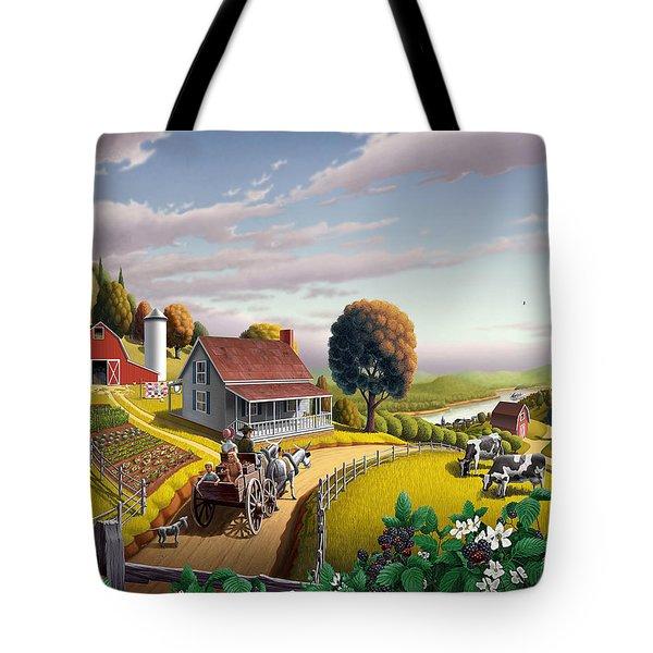 Appalachian Blackberry Patch Rustic Country Farm Folk Art Landscape - Rural Americana - Peaceful Tote Bag by Walt Curlee