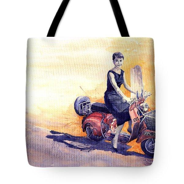 Audrey Hepburn and Vespa in Roma Holidey  Tote Bag by Yuriy  Shevchuk