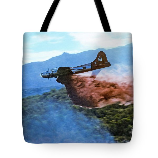 Tote Bag featuring the photograph  B-17 Air Tanker Dropping Fire Retardant by Bill Gabbert