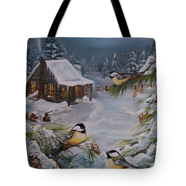 Black Capped   Chickadee's  Tote Bag by Sharon Duguay
