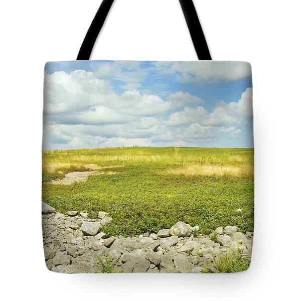 Blueberry Field With Blue Sky And Clouds In Maine Tote Bag by Keith Webber Jr