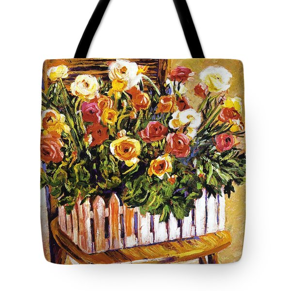 Chair Of Flowers Tote Bag by David Lloyd Glover