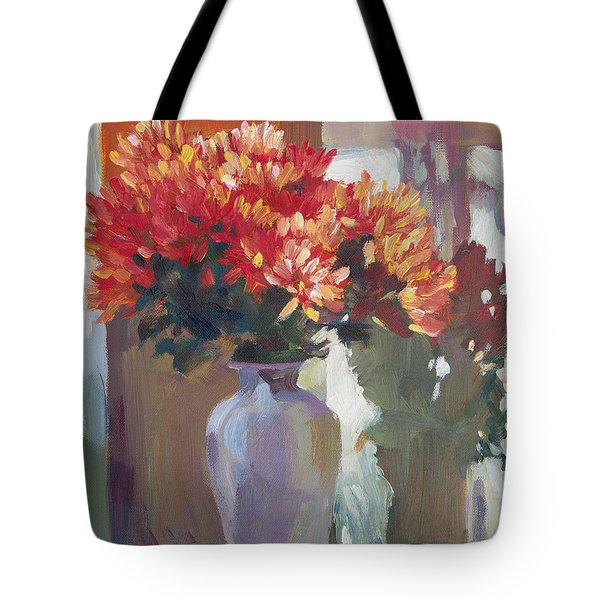 Chrysanthemums In Vase Tote Bag by David Lloyd Glover