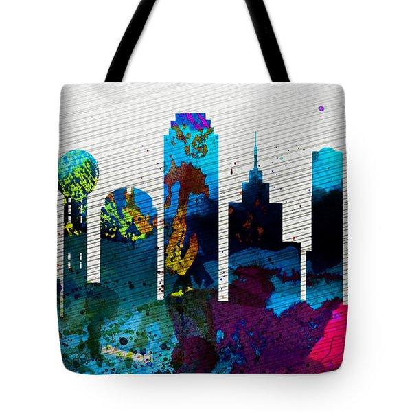 Dallas City Skyline Tote Bag by Naxart Studio