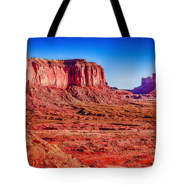 Golden Hour Sunrise In Monument Valley Tote Bag by Bob and Nadine Johnston