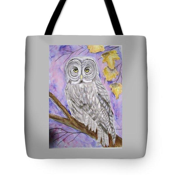Grey Owl Tote Bag by Belinda Lawson