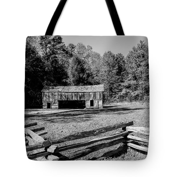 Historical Cantilever Barn at Cades Cove Tennessee in Black and White Tote Bag by Kathy Clark
